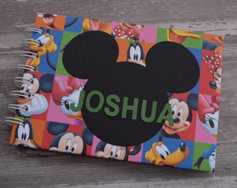 """Personalized Disney Autograph Book and Photo Album - 5""""x7"""" ~ Mickey Mouse ~ Minnie Mouse ~  Goofy ~ Pluto ~ Donald Duck"""