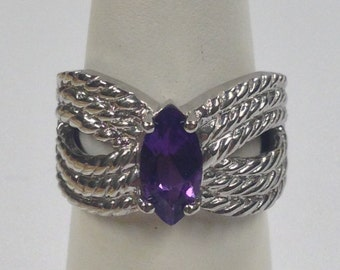 Natural Amethyst Ring 925 Sterling Silver