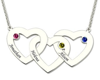 Three Hearts Birthstones Necklace In Silver Heart Pendant with Birthstone Mother's Necklace-3880