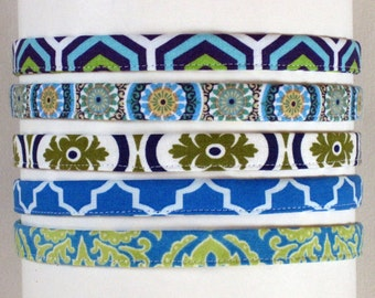Adjustable Skinny Headband Blue White Half Inch Headband / Green Headband Fabric Hairband - for women and girls Best Selling Headbands