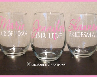 FAST SHIPPING-Personalized Wedding Stemless Wine Glasses for Bride, Bridesmaids, Maid of Honor, Bridal Party, Bachelorette Party