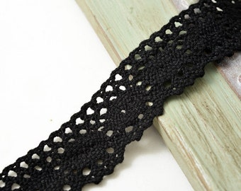 Vintage BLACK Cotton Cluny Lace Trim, 1 Inch by 3-Yards, TR-11125