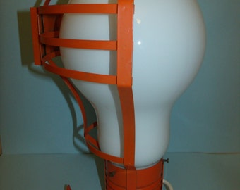1960's Giant Opalescent White Glass Giant Light Bulb Table Lamp Mid Century Mod