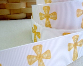 1'' -  25 mm Yellow Cross Grosgrain Ribbon