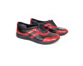 Barney's red & black leather shoes / natural rubber / made in italy / size 37 / sneakers - womens 6.5
