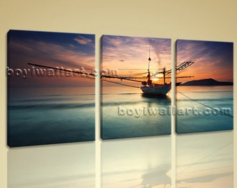 Amazing Sunset Glow Picture Seascape Boat Print Canvas Wall Art Ready to Hang, Large Sunset Wall Art, Living Room, Spectra