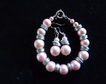 bracelet and earring set of pearl and washers