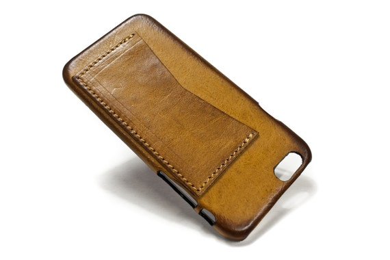 """Iphone 6 Leather Case Washed Leather Aged with credit card holder for 4.7"""" & PLUS 5.5"""" col CAMEL"""