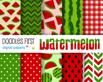 Watermelon Digital Paper Pack Includes 10 for Scrapbooking Paper Crafts