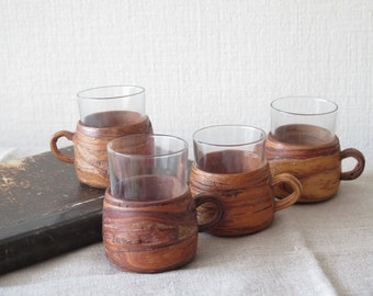 Set of 4 Birch Bark Covered Glasses with Handles, Handled Glasses with Wood Holder, Punch Glass Mug @133