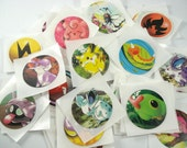 Upcycled Pokemon Stickers - Set of 15 - Pokemon Card Stickers - Pokemon Sticker Set