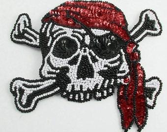 """Pirate Applique, Sequin Beaded, 5"""" x 5""""  -33150"""