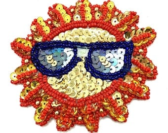 "Sale! Sun with Glasses Appliqué, Sequin Beaded, 3.5""  -B137-0359-1714"
