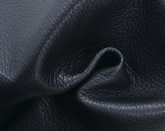 "Raven Black Leather New Zealand Deer Hide 12"" x 12"" Pre-cut 3-4 ounces TA-38280 (Sec. 6,Shelf 4,B)"
