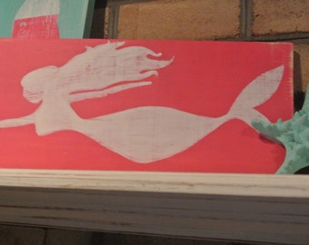 Hand Painted Wooden Mermaid Sign