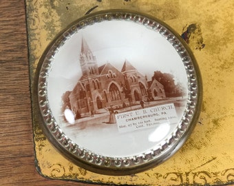 Glass Dome Paperweight // First UB Church Chambersburg PA // Vintage Desk Accessory