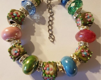 Pink, Blue and Green Euro-style Beaded Bracelet