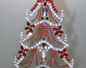 Ravishing Red and Clear Rhinestone Vintage Christmas Tree with Dangly Garlands