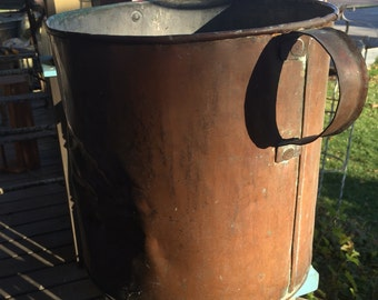 "1940's Large,11 1/2"" Diameter Copper Bucket, With Handles, 11 1/2"" Tall"