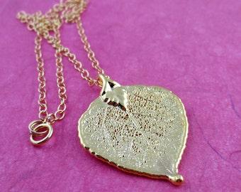 Genuine Gold Plated Aspen Leaf Necklace/Real Aspen Leaf/Aspen Leaf Necklace/Nature Necklace/Nature Jewelry/Botanical Jewelry/Gold Plated