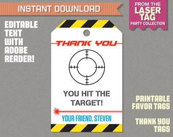 Laser Tag Party Favor Tags / Laser Tag Thank you Tag (Ink Saver) - Laser Tag Birthday - Edit and print at home with Adobe Reader