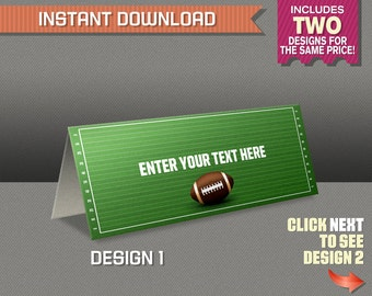 Football Tent Cards - Football Party Place Cards - Football Party Food Labels - Edit and print at home - TWO Designs, same price!