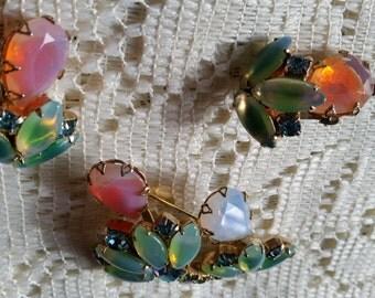 Vintage Gold Tone Pink Green Givre AB Blue Rhinestone Brooch Earring Set