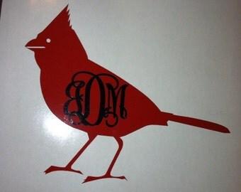 Cardinal monogram decal - Bird lover monogram - Cardinal Heaven - Cardinals - Bird Decor - Nature Monogram - Nature Lover Decor - Heaven