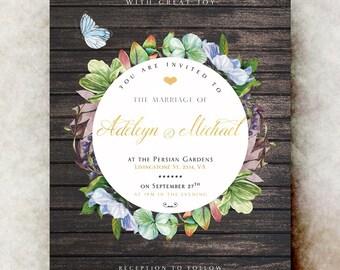 Barn Wedding Invitation - wedding invitation suite, rustic wedding invitation, printable wedding invitation, winter wedding