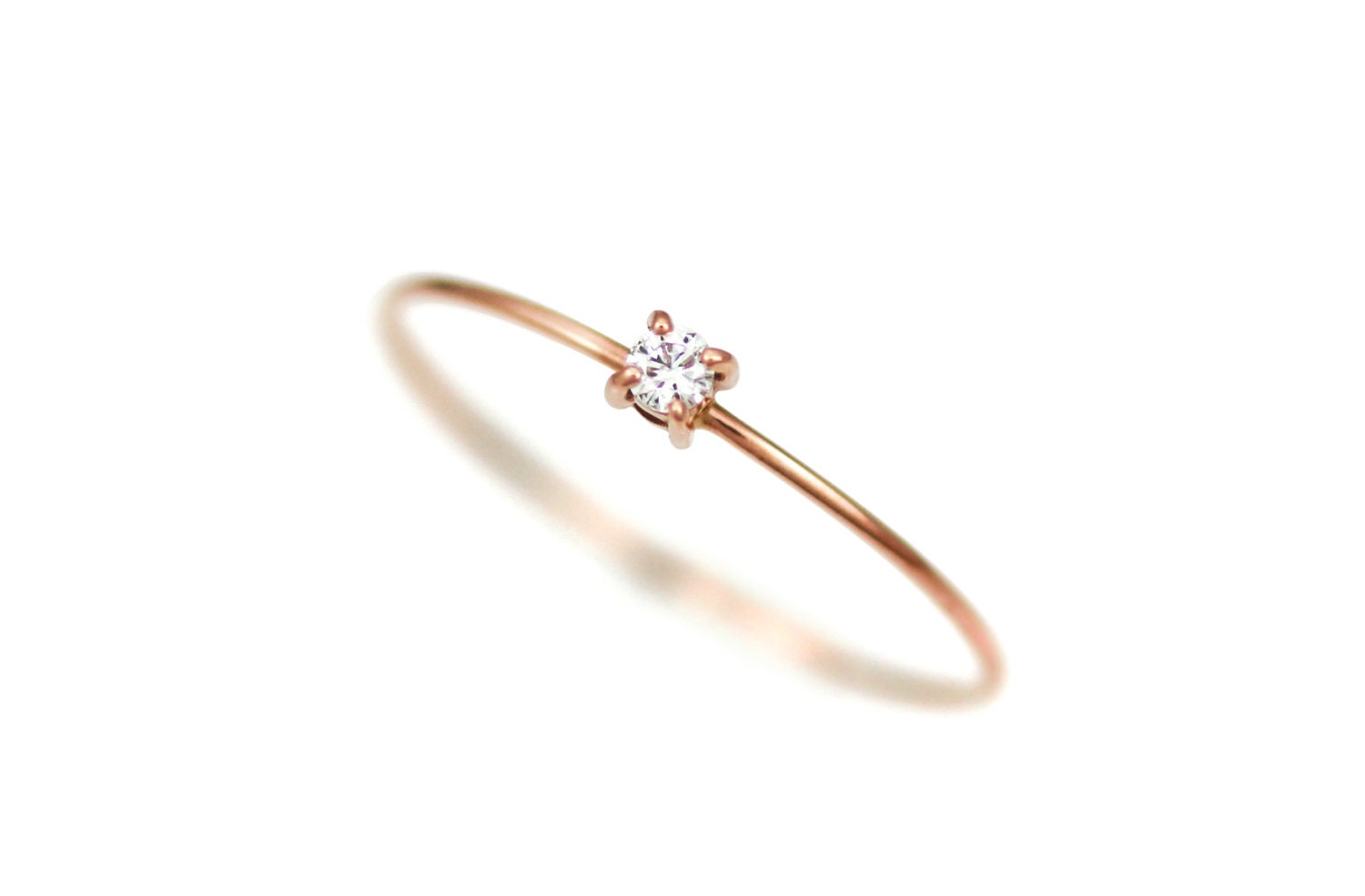 Diamond Engagement Ring Thin Diamond Ring Gold Simple