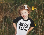 Sale Black and White Tri-blnd MORE LOVE Baby/Toddler/Kid's Baseball Raglan Tee. More Love. Ready to ship.