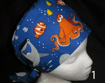 Ladies Pediatric Scrubs Scrub Caps Made From Disney Dory And Friends Fabric Pixie Or Banded Bouffant Pediatric Scrubs Caps Elephants Pixie