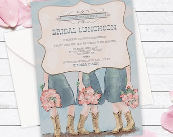 Cowboy Boots Bridesmaid's Luncheon Invitation, Bridal Lunch, Bridesmaid Lunch, Custom invitation, Bridal Shower, DIGITAL, DIY Printable