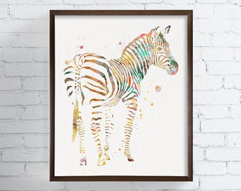 Zebra Wall Art, Zebra Art Print, Zebra Watercolor, Kids Print, Childrens Print, Nursery Art, Watercolor Animals Prints, Custom Color, Framed