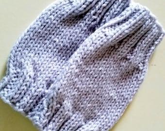 Pearl gray children fingerless gloves. Wrist warmers. Stocking stuffers.