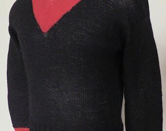 Wartime 1940s Black & Red Handmade Jumper