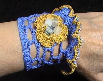 Wrist Cuff Bracelet, Crochet Bracelet, Wrist Cuff, Wristband, Crochet Jewelry,