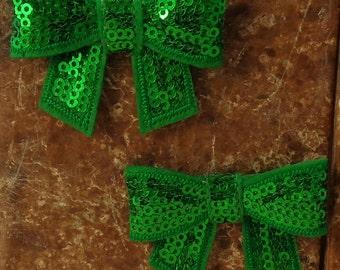 "2 Each 2"" Kelly Emerald Green Sequin Bow Embellishment"