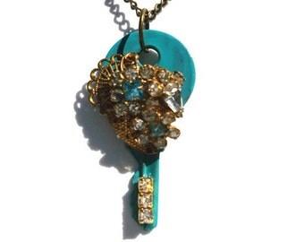 Blue Key Rhinestone Necklace Pendant Shabby Chic