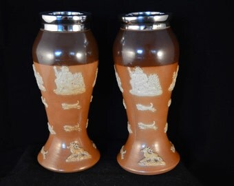 Pair of ROYAL DOULTON Salt Glazed Vases with Silver Mounts - Hunting Scenes - c1915
