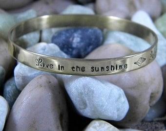 Emerson Quote Live In The Sunshine Swim The Sea Drink The Wild Air Gold Bangle