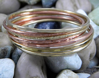 Stacking Bangles Mixed Metal Copper And Brass