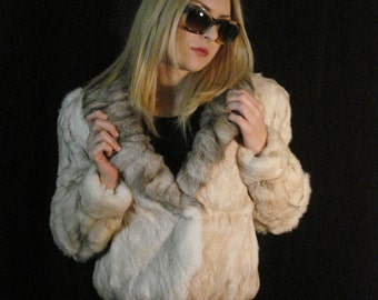 Fox and Rabbit Fur Coat Jacket Plush Gray & White Cropped Winter Outerwear Vintage Chic M