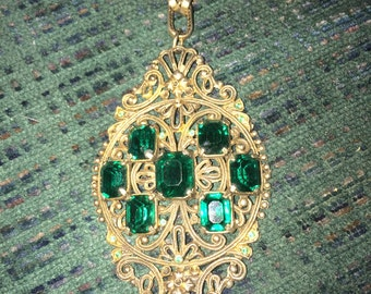 One of a kind Heavy Vintage Faux Emerald Necklace
