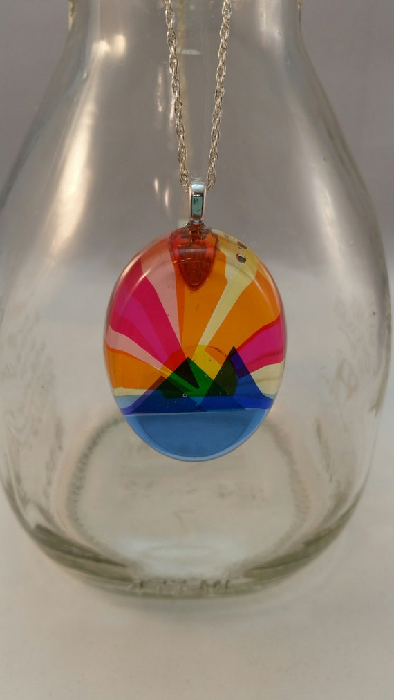 Mountain Sunset - Layered Colors - Resin Pendant with Sterling Silver Chain