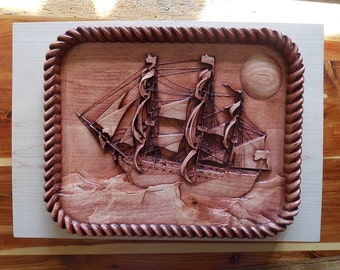 Wood Carvings for Sale, Nautical Decor, Sailboat Wood Carving, Vintage Victory Ocean Sail Ship, Nautical Wood Wall Art Decor, Wood Decor