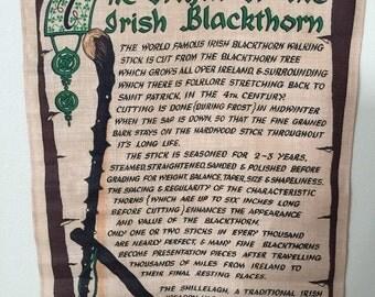 Vintage The Origin of the Irish Blackthorn Heavy Irish Linen Tapesrty irish wall hanging made in Ireland