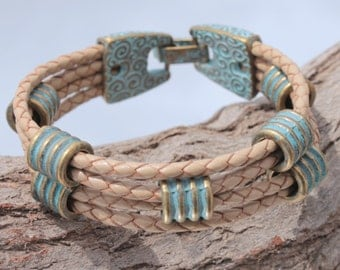 brown, braided Bracelet with bronce color beads