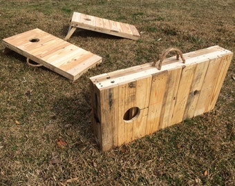 Rustic 2/3 Scale Cornhole Boards made from pallet wood