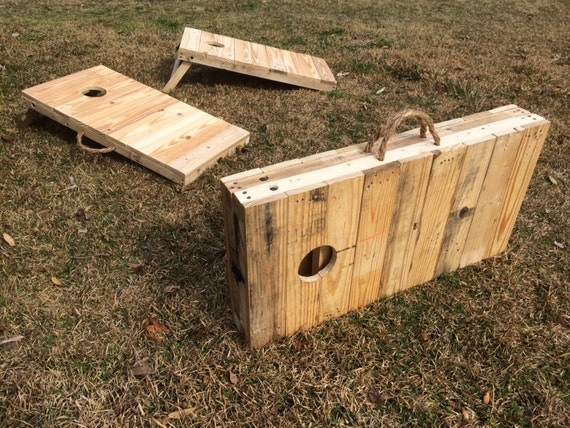 Rustic 2 3 Scale Cornhole Boards Made From Pallet Wood